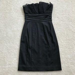 Bebe Black Satin Strapless Dress in XS